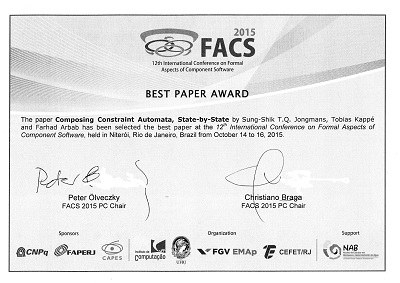 facs best paper award for formal methods researchers cwi amsterdam