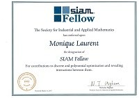 SIAM certificate for Prof. Monique Laurent
