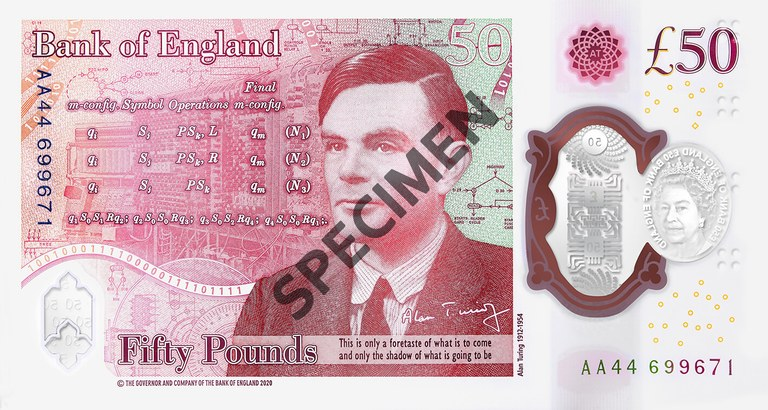 SPECIMEN of the Turing side of a new 50 pound note. Credit: Bank of England.