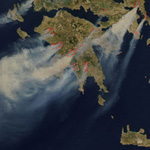 satellite image of forest fires Greece by NASA 2009